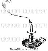 Vector Clip Art of Retro Tray Candle Holder and Smoke by Prawny Vintage