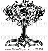 Vector Clip Art of Retro Tree and Roots by Prawny Vintage