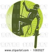 Vector Clip Art of Retro Tree Arborist Climbing with a Chainsaw 1 by Patrimonio