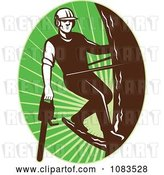 Vector Clip Art of Retro Tree Arborist Climbing with a Chainsaw 2 by Patrimonio