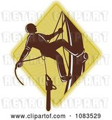 Vector Clip Art of Retro Tree Arborist Climbing with a Chainsaw 3 by Patrimonio