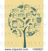 Vector Clip Art of Retro Tree Formed of Agricultural Icons by BNP Design Studio