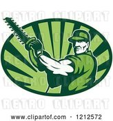 Vector Clip Art of Retro Tree Horticulturist with a Hedge Trimmer over an Oval of Green Rays by Patrimonio