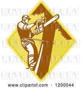 Vector Clip Art of Retro Tree Surgeon Arborist with a Chainsaw on a Diamond by Patrimonio