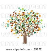 Vector Clip Art of Retro Tree with Halftone Dot Foliage - Version 4 by BNP Design Studio