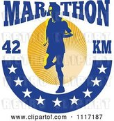 Vector Clip Art of Retro Triathlete Runner with Marathon 42 Km Text and Stars by Patrimonio