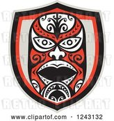 Vector Clip Art of Retro Tribal Maori Mask Shield by Patrimonio