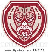 Vector Clip Art of Retro Tribal Maori Mask with a Tongue Shield by Patrimonio
