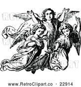 Vector Clip Art of Retro Trio of Angels by Prawny Vintage