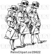 Vector Clip Art of Retro Trio of Girls in Hats and Coats by Prawny Vintage