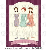 Vector Clip Art of Retro Trio of Mannequins in Dresses by BNP Design Studio