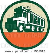 Vector Clip Art of Retro Triple Axle Dump Truck in a Green Tan and Orange Circle by Patrimonio