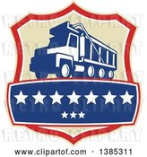 Vector Clip Art of Retro Triple Axle Dump Truck in a Tan Red White and Blue Shield with Stars by Patrimonio