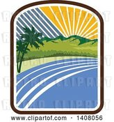 Vector Clip Art of Retro Tropical Landscape with Palm Trees, Mountains and the Coast at Sunset or Sunrise by Patrimonio