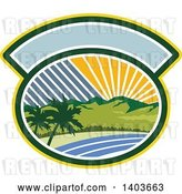 Vector Clip Art of Retro Tropical Landscape with Palm Trees, Mountains and the Coast at Sunset or Sunrise in an Oval by Patrimonio