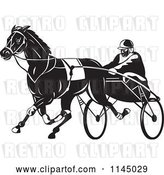 Vector Clip Art of Retro Trotter Harness Horse Racer by Patrimonio