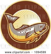 Vector Clip Art of Retro Trout and Rays by Patrimonio