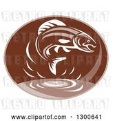 Vector Clip Art of Retro Trout Fish Jumping over Water in a Brown Oval by Patrimonio