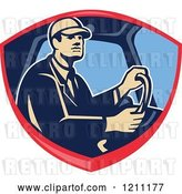 Vector Clip Art of Retro Truck Driver Behind the Wheel in a Shield Crest by Patrimonio
