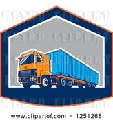 Vector Clip Art of Retro Truck Hauling a Container in a Shield by Patrimonio