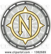 Vector Clip Art of Retro True North Compass by Patrimonio