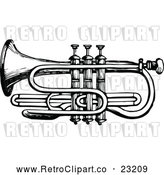 Vector Clip Art of Retro Trumpet by Prawny Vintage