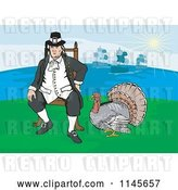 Vector Clip Art of Retro Turkey Bird by a Sitting Pilgrim by Patrimonio