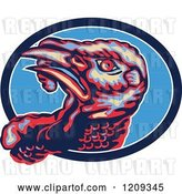 Vector Clip Art of Retro Turkey Bird Head in a Lined Blue Oval by Patrimonio