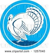 Vector Clip Art of Retro Turkey Bird in a Blue Circle by Patrimonio