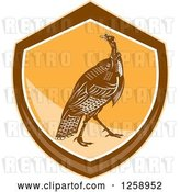 Vector Clip Art of Retro Turkey Bird in an Orange and Brown Shield by Patrimonio