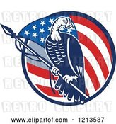 Vector Clip Art of Retro Turkey Bird on a Pole over an American Flag Circle by Patrimonio