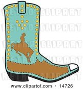 Vector Clip Art of Retro Turquoise and Brown Boot of a Cowboy in Silhouette, Riding a Bucking Bronco by Andy Nortnik