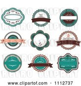 Vector Clip Art of Retro Turquoise and Brown Restaurant Labels by Vector Tradition SM