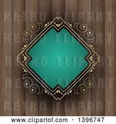 Vector Clip Art of Retro Turquoise and Gold Diamond Shaped Frame over Wood by KJ Pargeter