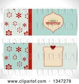 Vector Clip Art of Retro Turquoise and Red Snowflake and Christmas Bauble Ornament Tag Website Banners by Elaineitalia