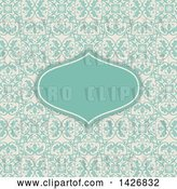 Vector Clip Art of Retro Turquoise Frame Invitation on a Floral Pattern by KJ Pargeter