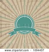 Vector Clip Art of Retro Turquoise Label Badge and Banner over Grungy Rays by KJ Pargeter