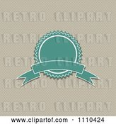 Vector Clip Art of Retro Turquoise Quality Assurance Badge over Polka Dots by KJ Pargeter