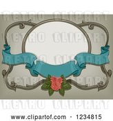 Vector Clip Art of Retro Turquoise Ribbon Banner with a Pink Rose and a Frame by BNP Design Studio