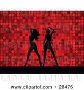 Vector Clip Art of Retro Two Black Silhouetted Women Dancing over a Red Dotted Background by KJ Pargeter
