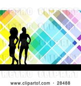 Vector Clip Art of Retro Two Black Silhouetted Women Standing over a Colorful Background with White Lines by KJ Pargeter