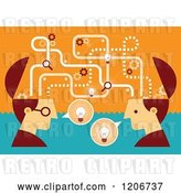 Vector Clip Art of Retro Two Business Men with Open Creative Brains and Ideas by Qiun