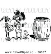 Vector Clip Art of Retro Two Girls and Dog by a Barrel by Prawny Vintage