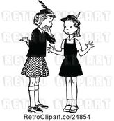 Vector Clip Art of Retro Two Girls Gossiping by Prawny Vintage