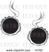 Vector Clip Art of Retro Two Hot Bullet Holes Through Metal, Smoking by Andy Nortnik