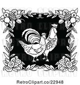 Vector Clip Art of Retro Two Roosters in a Floral Frame by Prawny Vintage