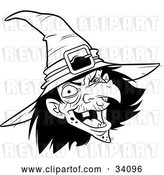 Vector Clip Art of Retro Ugly Warty Witch in a Hat, Laughing by Lawrence Christmas Illustration