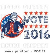 Vector Clip Art of Retro Uncle Sam in an American Patiotic Suit, Pointing from a Circle by Vote 2016 Text by Patrimonio