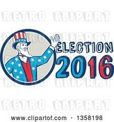 Vector Clip Art of Retro Uncle Sam in an American Patiotic Suit, Waving from a Circle by Election 2016 Text by Patrimonio