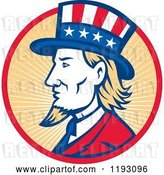 Vector Clip Art of Retro Uncle Sam with a Patriotic Top Hat in a Circle of Rays by Patrimonio